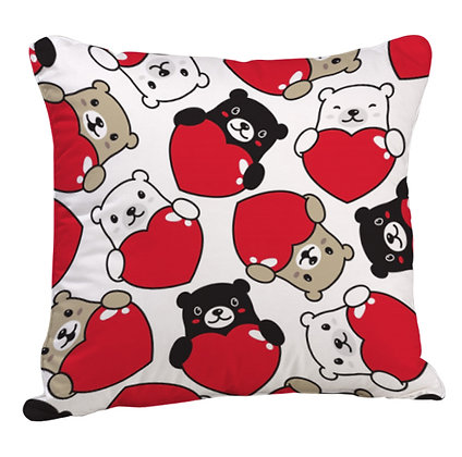 Love Heart with Bear Satin Cushion Pillow with Filler