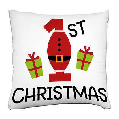 1st Christmas gift Printed Poly Satin Cushions Pillow Cover with