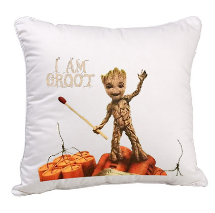 I am GROOT Printed Poly Satin Cushion Pillow with Filler