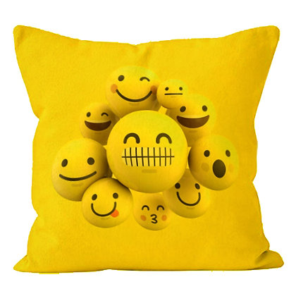 Faces with Zip & Joy EMOJI Printed Poly Satin Cushion Pillow Cover with Fi