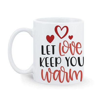 Let Love Keep you warm Printed Ceramic Coffee Mug 325 ml