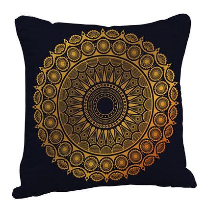 Beautiful Golden Rangoli with Black Theme Satin Cushion Pillow with Filler