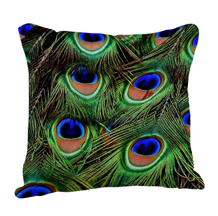 Wings of Peacock Pattern Satin Cushion Pillow with Filler