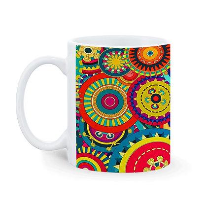 Beautiful Rangoli Base Theme Printed Ceramic Coffee Mug 325 ml