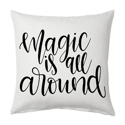Magic all around Printed Poly Satin Cushion Pillow Cover with Filler