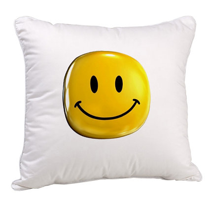 Smile Printed Poly Satin Cushion Pillow Cover with Filler