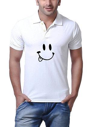 Smile Printed Regular Fit Polo Men's T-shirt