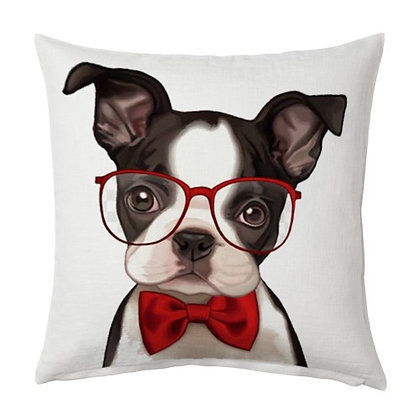Mr. Dog Cartoon Printed Poly Satin Cushions Pillow Cover with Filler
