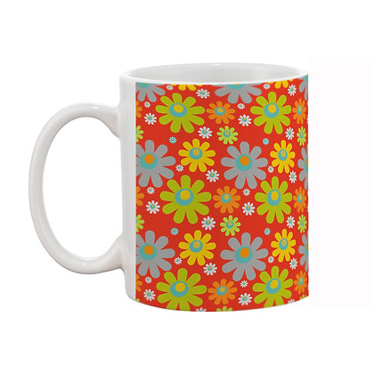Sunflower Red Theme Pattern Ceramic Coffee Mug 325 ml