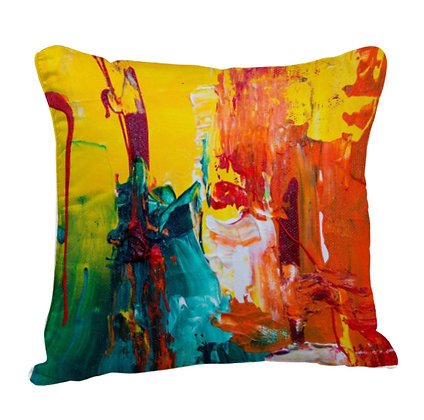 Colorful Paint Artwork Satin Cushion Pillow with Filler