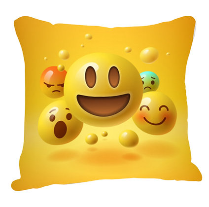 Grinning Face with Big Eyes EMOJI Pattern Satin Cushion Pillow Cover with Filler