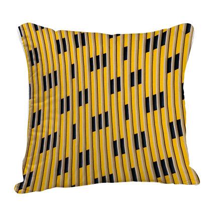 Beautiful Yellow And Black Mix Theme Satin Cushion Pillow with Filler
