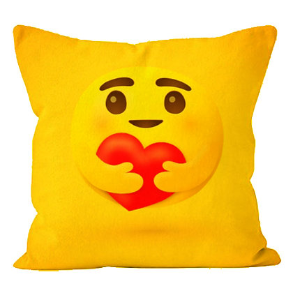 Caring Face EMOJI Printed Poly Satin Cushion Pillow Cover with Fi