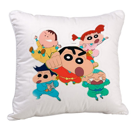 Shinchan and Friends  Printed Poly Satin Cushion Pillow with Filler