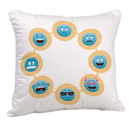 Blue EMOJI Circle Pattern Satin Cushion Pillow Cover with Filler