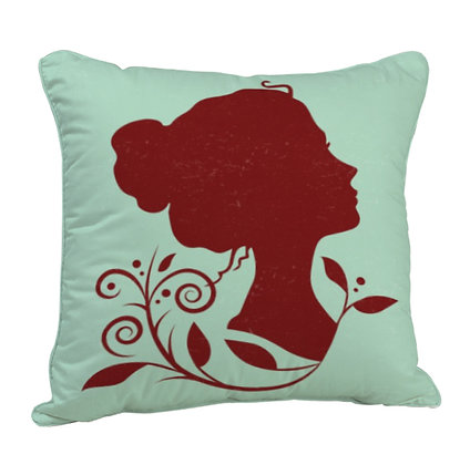 The Beauty of Woman Satin Cushion Pillow with Filler