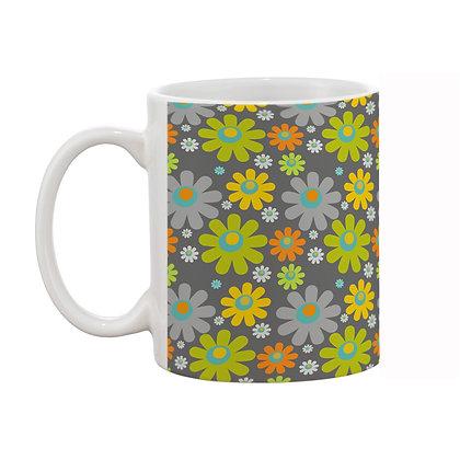 Sunflower Grey Theme Pattern Ceramic Coffee Mug 325 ml