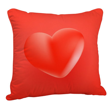 Red Heart Satin Cushion Pillow Cover with Filler