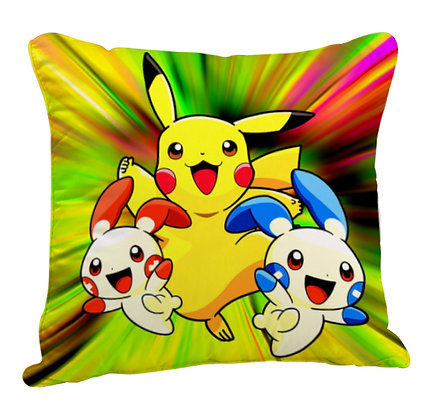 Pikachu with Friends Printed Poly Satin Cushion Pillow with Filler