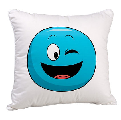 Winking Face Blue EMOJI Satin Cushion Pillow Cover with Filler