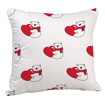 Love Bear Satin Cushion Pillow with Filler