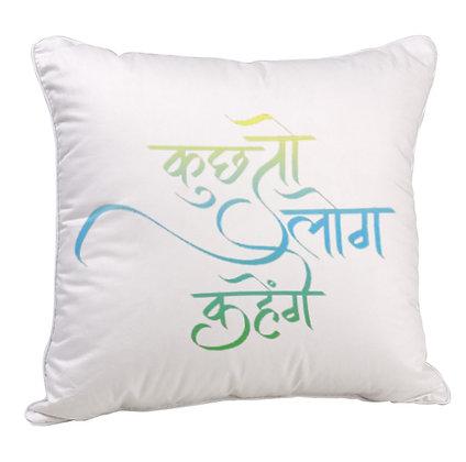 Kuch to Log Kahenge Printed Poly Satin Cushion Pillow with Filler