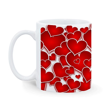 Red Heart Love Pattern Ceramic Coffee Mug 325 ml