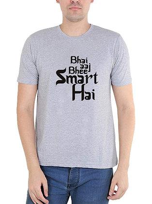 Bhai Bhai Aaj Bhi Smart Hai Printed Regular Fit Round Men's T-shirt