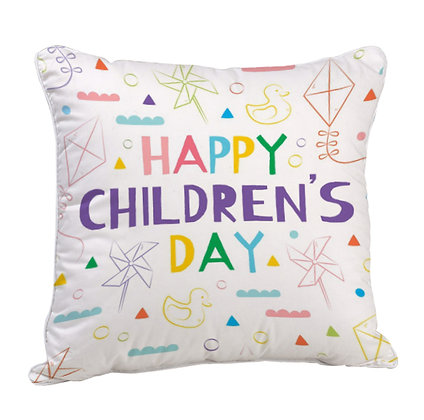 Happy Children's Day Satin Cushion Pillow with Filler