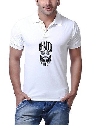 Bhai to Aaj Bhi Smart hain Printed Regular Fit Polo Men's T-shirt