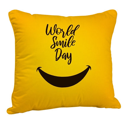 World Smile Day Satin Cushion Pillow Cover with Filler