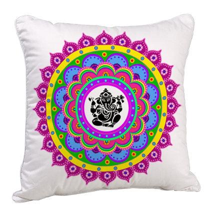 Lord Ganesha Rangoli Theme Satin Cushion Pillow with Filler