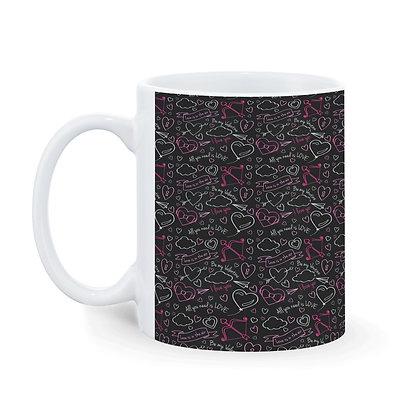 I Love You Pattern Ceramic Coffee Mug 325ml