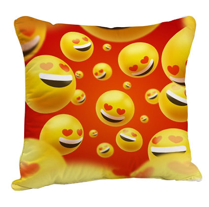 Smiling Face with Heart-Eyes EMOJI Face Partten Satin Cushion Pillow with Filler