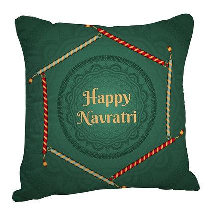 Happy Navratri Satin Cushion Pillow with Filler