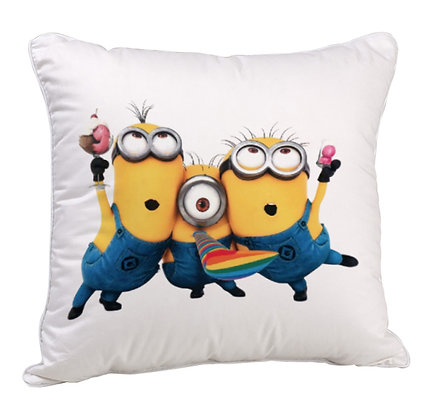 Minions Friends forever Printed Poly Satin Cushion Pillow Cover with Filler