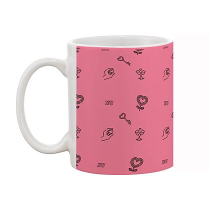 I Love U Pink Theme Pattern Ceramic Coffee Mug 325 ml
