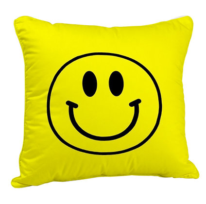 Smile Face Printed Poly Satin Cushion Pillow Cover with Filler