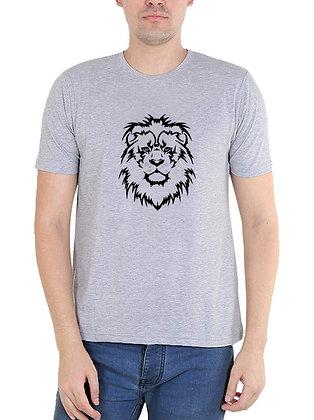 LION Printed Regular Fit Round Men's T-shirt