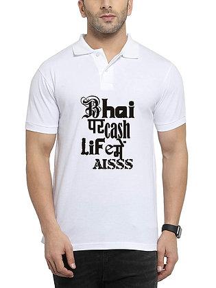 Bhai Par cash Life m Esh Printed Regular Fit Polo Men's T-shirt