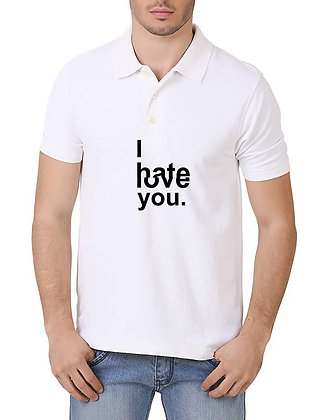 I Hate/Love You Printed Regular Fit Polo Men's T-shirt