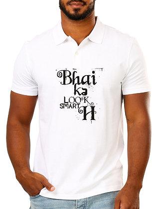 Bhai Ka Look Smart hai Printed Regular Fit Polo Men's T-shirt
