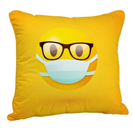 Face with Medical Mask EMOJI Satin Cushion Pillow Cover with Filler