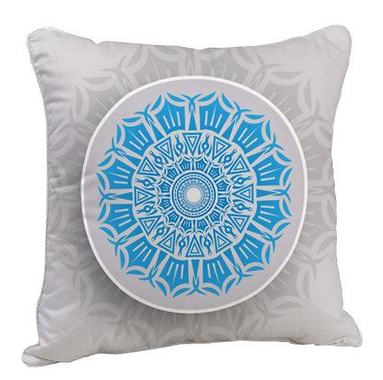 Beautiful Blue Rangoli with White Theme Satin Cushion Pillow with Filler