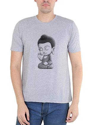 Buddha Printed Regular Fit Round Men's T-shirt
