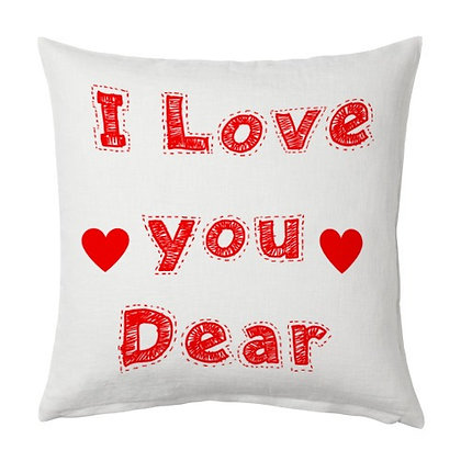 I Love You Dear Printed Poly Satin Cushions Pillow Cover with