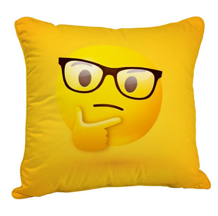 Thinking Face with Sunglasses EMOJI Satin Cushion Pillow Cover with Filler