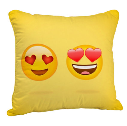 Love Couple EMOJI Satin Cushion Pillow Cover with Filler