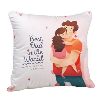 Best DAD in the World Satin Cushion Pillow with Filler