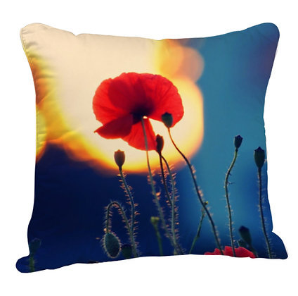 Beautiful Flower Printed Poly Satin Cushion Pillow with Filler